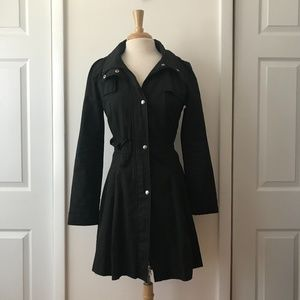 Guess Black Hooded Trench Coat